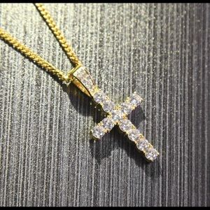 New 18 k yellow gold necklace and cross